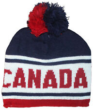 Canadian Winter Hat (Toque), Canada Knit Stitching & Moose Pattern with PomPom