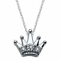 Teeny Tiny Crown Pendant with Diamonds in Sterling Silver