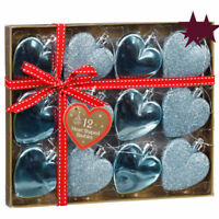 12 HEART SHAPE CHRISTMAS TREE BAUBLES, XMAS DECORATIONS.Rose gold, silver, white