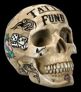 Totenkopf - Tattoo Spardose - knochenfarben - Nemesis Now Halloween Sparschwein