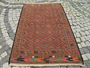 Tribal Soumak Woven Kilim Rug  47'' x 73''  Vintage Turkoman Soumak Kilim Rug