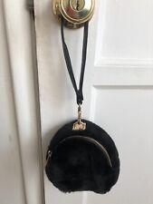 Forever 21 Black Faux Fur Mini Bag Pouch Clutch
