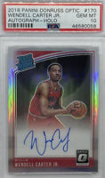 2018-19 Donruss Optic Holo Wendell Carter Jr. Rated Rookie Auto Silver RC PSA 10