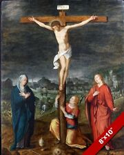 CRUCIFIXION OF JESUS CHRIST UPON THE CROSS PAINTING BIBLE ART REAL CANVAS PRINT