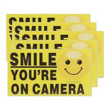 """5x """"Smile You're On Camera"""" Self-adhesive Video Alarm Warning Stickers Sign Q9Y3"""