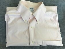 Mens BROOKS BROTHERS 17-33 Button Down Front Off Pink Long Sleeve Slim Fit M L