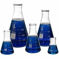 Karter Scientific Glass Flask 5 Piece Set, Narrow  Assorted Sizes , Styles