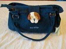 Blue Purse W Handles Puppy Dog Flap Pet Shop New W Tags 100% Cotton