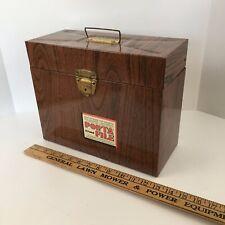 "Vintage 1960's Wood Grain Metal Porta File Box Ballonoff  12.5"" x 10"" x 5."