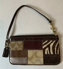 COACH Wristlet Vintage Multi Design Leather Suede Canvas Brown Leather Strap EUC