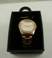 Rose goldtone large womens watch hearts crystal bling