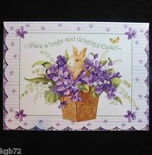 Leanin Tree Easter Greeting Card Flowers Bunnies Purple Bunny Multi Color E12