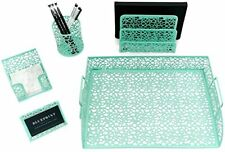 Blu Monaco 5 Piece Mint Green Desk Organizer Set