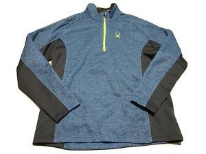 Spyder Active Sports 1/4 Zip Fleece Pullover Jacket Size 2XL Blue Black