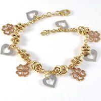 Armband Gelbgold Weiß Pink 18K 750, Kreise, Shamrocks Und Hearts, Italien