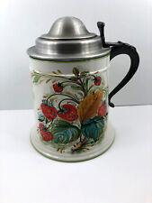 "Vintage Mancioli Italy LARGE Ceramic Stein Ice Bucket Lidded Strawberry 12"""