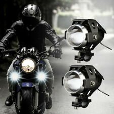 2x Motorcycle Projector Headlight 3 Modes Light 3000LM Motorbike Head Fog Lamp