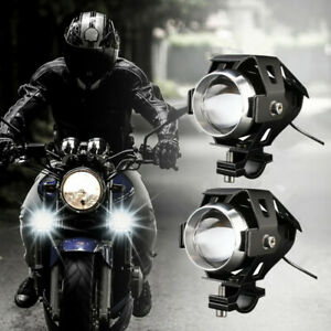 2PCS Motorcycle Fog Light LED 6000K Headlight 12V 3 Modes Spot Lamp With Button