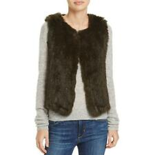 525 America Womens Sleeveless Vest Top Jacket Brown Rabbit Soft Warm Fur XS $198