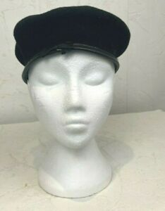 Vintage Black Beret Military Cap Woman's Wool With Ribbon Leather 7 1/2 P601