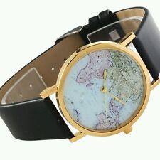 Hot World Map Globe Leather Band Womens Analog Quartz Wristwatch
