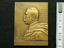 PLAQUE BRONZE R.DELAMARRE 1931 GUERRES COLONIALES - MARECHAL LYAUTEY - INDOCHINE