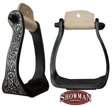 SHOWMAN BLACK ENGRAVED WESTERN HORSE SADDLE BLING ! SHOW STIRRUPS BARREL RACING