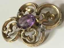 More details for antique vintage victorian rolled gold and amethyst stone engraved scroll brooch