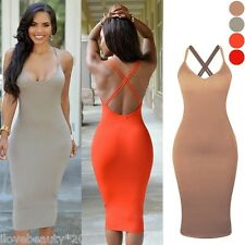 Sexy Women Cross Back Bandage Party Bodycon Wrap Dress Evening Cocktail Club