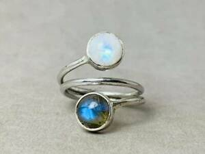 925 Sterling Silver Moonstone and Labradorite Ring Customize Size UK J to Z
