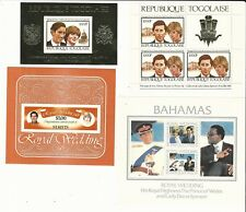 Worldwide:Lot of 4 different souvenirs sheet Price Charles and Lady Diana. Wo169