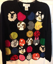 Susan Bristol Various Animals Black Cardigan Sweater Cat Dog Cow Pig Medium M