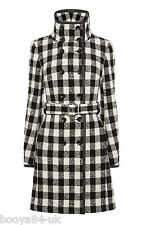 BRAND NEW WITH TAG + KAREN MILLEN + CHECK WOOL COAT + SIZE + UK 8