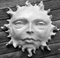 """Sun Face Folk Art Sculpture, 11"""" Wall Art, Signed Original by Claybraven"""