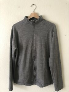 Zegna Techmerino Men's Gray Wool Zip Jacket Size Large