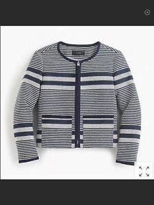 J.CREW Sz 0 Cropped Collarless Jacket Blazer Navy Striped Tweed