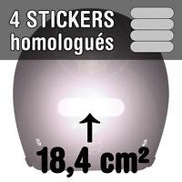 Kit 4 Stickers Homologués Rétro Réfléchissants Casque Moto REFLECTIVE BLANC Pro