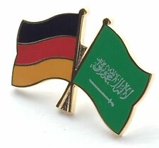 Germany & Saudi Arabia Friendship Flags Gold Plated Enamel Lapel Pin Badge