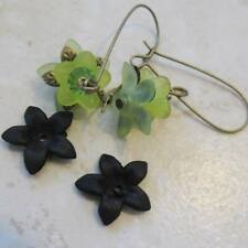 THIRTY Lucite Acrylic 5 Petal Star Flower Cap Bead 17mm Frosted BLACK