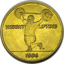 elf 1984 Olympics Bus Token  Weight Lifting