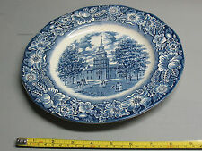 STAFFORDSHIRE LIBERTY BLUE IRONSTONE  PLATE INDEPENDENCE  HALL