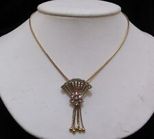 / Brooch Pink & White Rhinestone Stunning Vtg M&S Versatile Gold-Filled Necklace