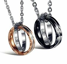 Stainless Steel Couple Pendant Necklace Korean Love Style One Pair