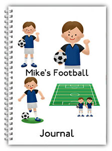 A5 PERSONALISED NOTEBOOK FOOTBALL JOURNAL LOG BOOK 50 LINED BLANK PAGES BOYS