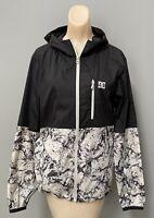 DC Men's Windbreaker Jacket, Hoodie, Size Small, Black With Pattern, EUC!
