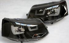 SCHEINWERFER SET VW T5 LED BAR UBAR ECHTES TAGFAHRLICHT TFL R87 SCHWARZ BLACK