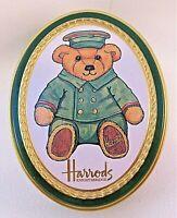 Harrod's Teddy Bear Doorman Metal Tin, Oval Shape EMPTY