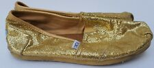 Toms Women's Flat Shoes Bright Classic Metallic Gold Shimmer Party Christmas 8