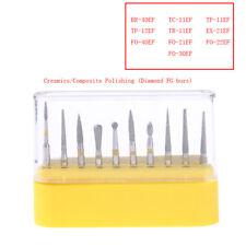 10pcs/kit Dental Diamond Burs Set Creamics/Composite Polishing Kit FG-105