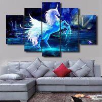 Abstract Blue Unicorn- LARGE SPLIT FRAMED CANVAS PRINT ! Modern Arts